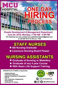 #MCUHospital #WithCareWeServe #CaloocanHospital #JobHiring #OneDayProcess #MCU #Nurses #NursingAssistant #NursingHiring #Apllicant #JobHiringHospital
